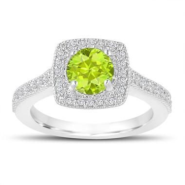 1.33 Carat Peridot Engagement Ring, Wedding Ring 14K White Gold Halo Pave Certified Handmade