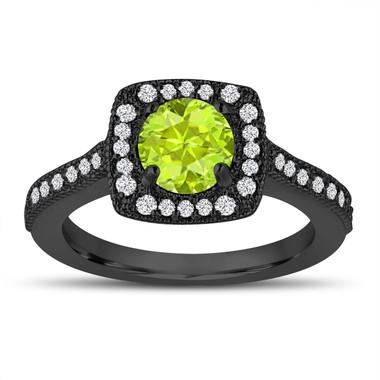 Vintage Style Green Peridot Engagement Ring, 1.33 Carat Wedding Ring 14K White Gold Halo Pave Certified Handmade