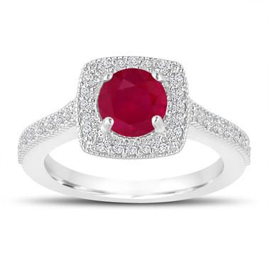 1.28 Carat Ruby Engagement Ring, Wedding Ring 14K White Gold Halo Pave Certified Handmade