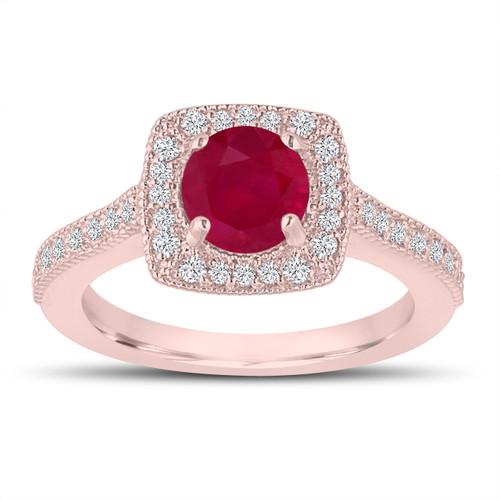 1.28 Carat Red Ruby Engagement Ring, Wedding Ring 14K Rose Gold Halo Pave Certified Handmade