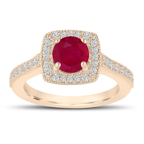 1.28 Carat Ruby and Diamonds Engagement Ring, Wedding Ring 14K Yellow Gold Halo Pave Certified Handmade