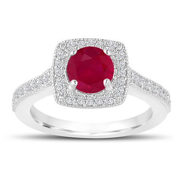 Platinum 1.28 Carat Ruby Engagement Ring, With Diamonds Wedding Ring Halo Pave Certified Handmade