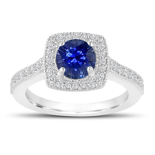 1.28 Carat Blue Sapphire Engagement Ring, Wedding Ring 14K White Gold Halo Pave Certified Handmade