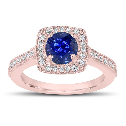 1.28 Carat Sapphire Engagement Ring, Wedding Ring 14K Rose Gold Halo Pave Certified Handmade