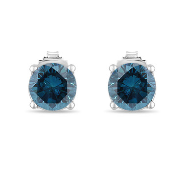 0.72 Carat Blue Diamond Stud Earrings 14K White Gold Certified Handmade