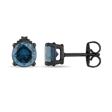 0.72 Carat Fancy Blue Diamond Stud Earrings 14K Black Gold Vintage Style Certified Handmade