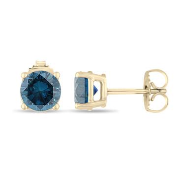 0.70 Carat Blue Diamond Stud Earrings 14K Yellow Gold Certified Handmade