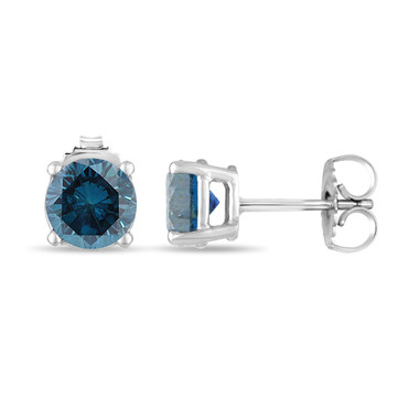 Platinum Blue Diamond Stud Earrings 0.70 Carat Certified Handmade