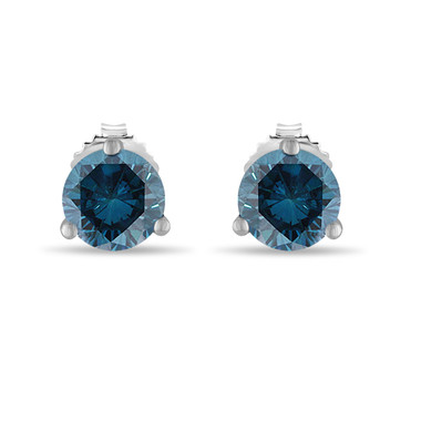 Blue Diamond Martini Stud Earrings 0.70 Carat 14K White Gold Certified Handmade