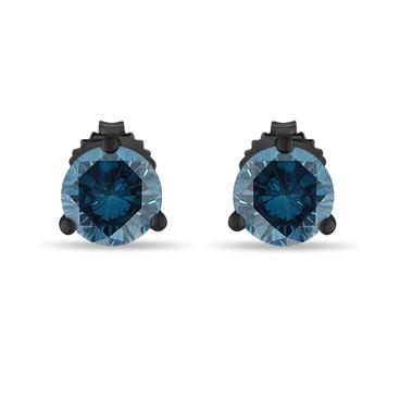 Vintage Style Blue Diamond Martini Stud Earrings 0.70 Carat 14K Black Gold Certified Handmade
