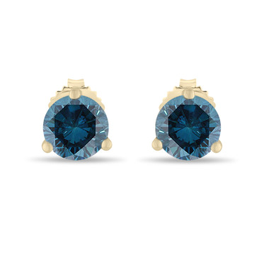 Fancy Blue Diamond Martini Stud Earrings 0.70 Carat 14K Yellow Gold Certified Handmade