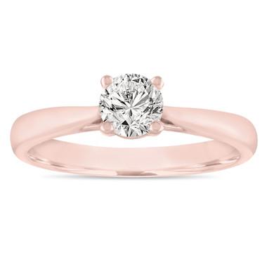 Certified Diamond Solitaire Engagement Ring, 0.50 Carat Wedding Ring 14K Rose Gold Handmade