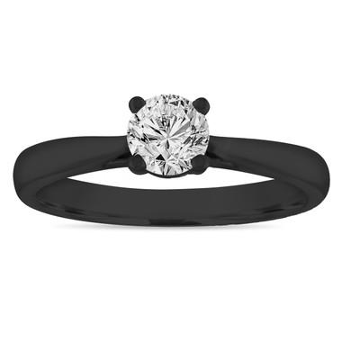 Vintage Diamond Solitaire Engagement Ring, 0.50 Carat Wedding Ring 14K Black Gold Certified Handmade