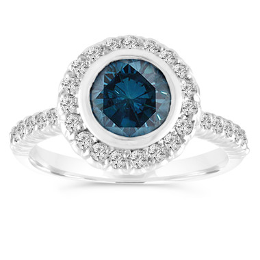 1.30 Carat Blue Diamond Engagement Ring, Wedding Ring 14K White Gold Bezel Set Halo Pave Certified Handmade