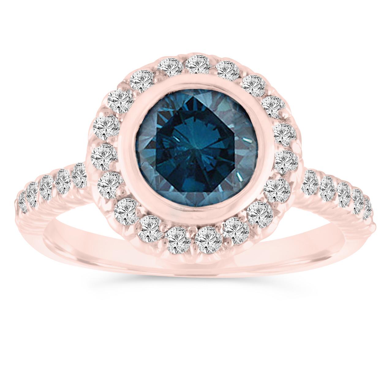 Bezel Set Blue Diamond Engagement Ring 14k Rose Gold Wedding Ring