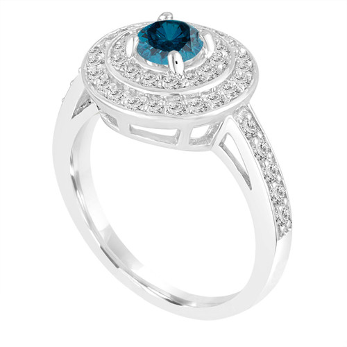 Double Halo Blue Diamond Engagement Ring 14K White Gold Unique 1.25 Carat Pave Handmade Certified