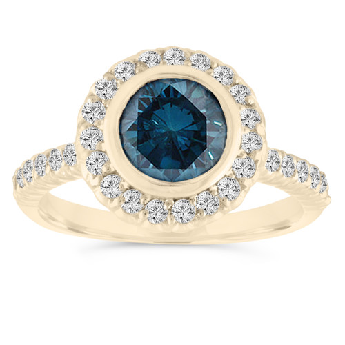 1.30 Carat Blue Diamond Engagement Ring, With Diamonds Wedding Ring 14K Yellow Gold Bezel Set Halo Pave Certified Handmade