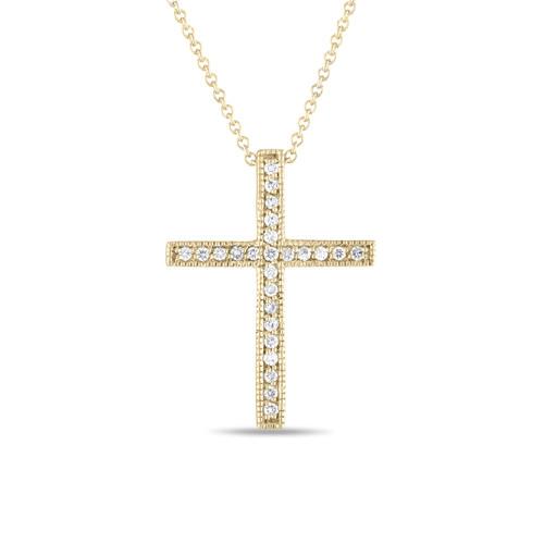 18K Yellow Gold Diamond Cross Pendant Necklace 0.25 Carat Handmade Pave