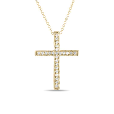 18K Yellow Gold Diamond Cross Pendant Necklace 0.25 Carat Handmade Pave