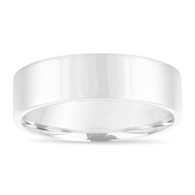 6 mm Mens Wedding Band, Mens Flat Wedding Ring, 14K White Gold Handmade