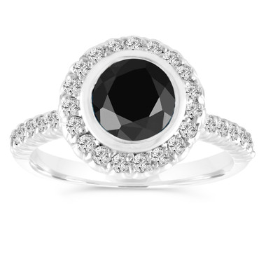 Platinum 1.31 Carat Black Diamond Engagement Ring, Wedding Ring Bezel Set Halo Pave Certified Handmade