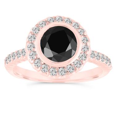 Bezel Set Black Diamond Engagement Ring, 14K Rose Gold Wedding Ring 1.31 Carat Halo Pave Certified Handmade
