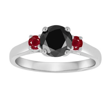 Three Stone Black Diamond and Rubies Engagement Ring, 1.26 Carat Wedding Ring 14K White Gold Certified Handmade