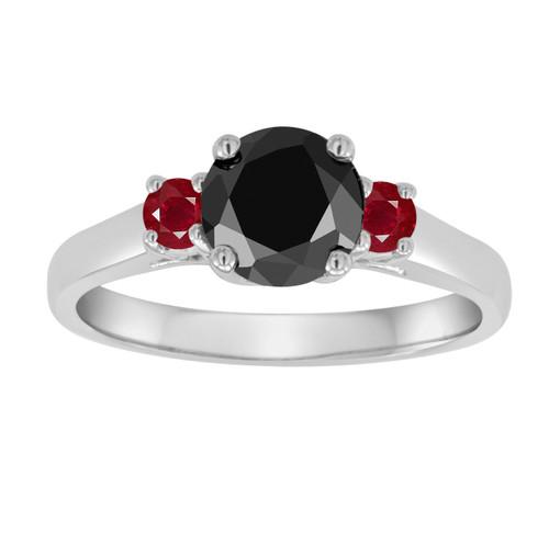 Platinum Black Diamond and Rubies Three Stone Engagement Ring, Wedding Ring 1.26 Carat Certified Handmade