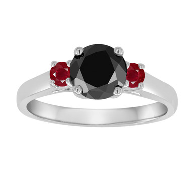 Platinum Black Diamond and Rubies Three Stone Engagement Ring, Wedding Ring 1.26 Carat Certified Handmade
