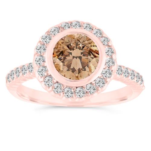 1.25 Carat Fancy Champagne Diamond Engagement Ring, Brown Diamond Wedding Ring 14K Rose Gold Bezel Set Halo Pave Certified Handmade