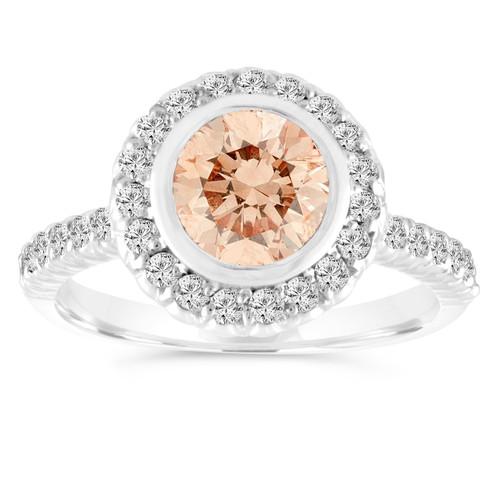 1.29 Carat Champagne Diamond Engagement Ring, Fancy Brown Diamond Wedding Ring 14K White Gold Bezel Set Halo Pave Certified Handmade