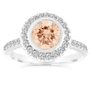 1.29 Carat Champagne Diamond Engagement Ring, Fancy Brown Diamond Wedding Ring 14K White Gold Bezel Set Halo Pave Certified Handmade