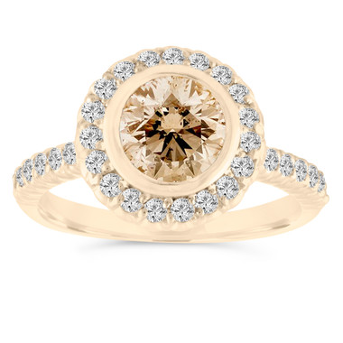 Champagne Diamond Engagement Ring, 1.29 Carat Brown Diamond Wedding Ring 14K Yellow Gold Bezel Set Halo Pave Certified Handmade