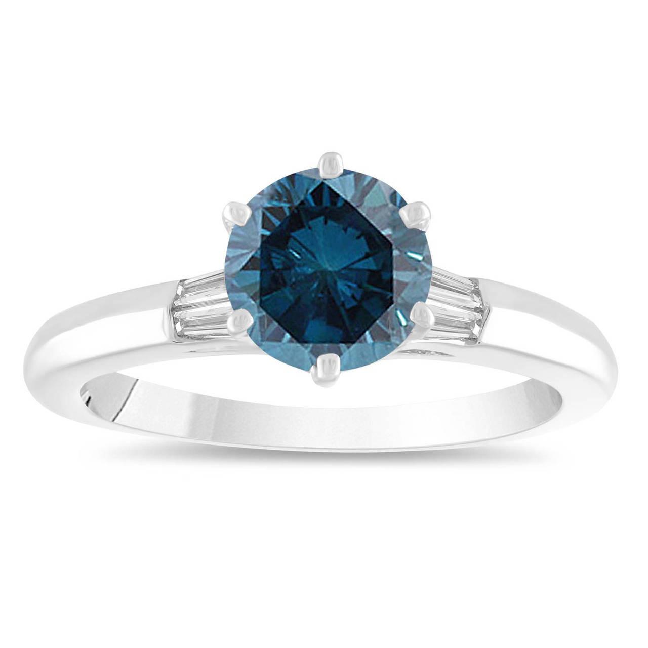 1 25 Carat Blue Diamond Engagement Ring Classic Fancy Wedding Ring