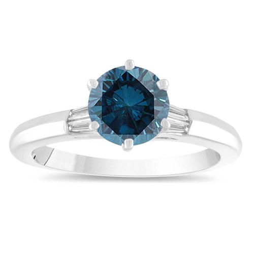 1.25 Carat Blue Diamond Engagement Ring, Classic Fancy Wedding Ring Taper Baguette Side Diamonds 14K White Gold Handmade Certified