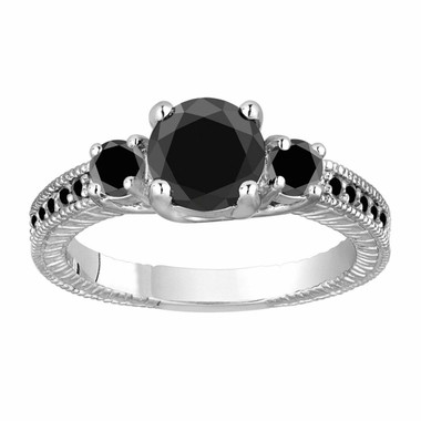1.45 Carat Black Diamond Three Stone Engagement Ring, Fancy Wedding Ring 14K White Gold Vintage Antique Style Engraved Handmade