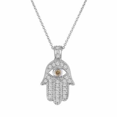 0.37 Carat Hamsa Diamond Pendant Necklace, Fancy Champagne Diamond Eye, Brown Evil Eye Pendant 14K White Gold Unique Handmade Micro Pave
