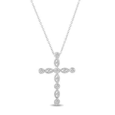 0.32 Carat Diamond Cross Pendant Necklace 14K White Gold Pave Bezel Set Handmade