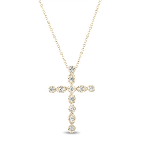 0.32 Carat Diamond Cross Pendant Necklace 14K Yellow Gold Pave Bezel Set Handmade