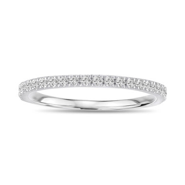 0.25 Carat Diamond Wedding Band, Thin Wedding Ring, Anniversary Ring, Half Eternity Band, Stackable Band 14K White Gold handmade Pave