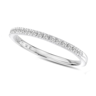 Pave Diamond Wedding Ring, Platinum Thin Wedding Band, Half Eternity Band 0.25 Carat Anniversary Ring,Stackable Band handmade Unique