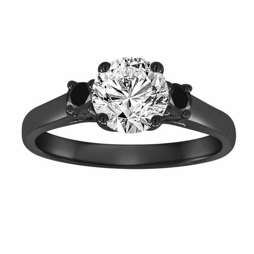 1.30 Carat 14K Black Gold Diamond Engagement Ring, With Black Diamonds Wedding Ring, Three Stone Vintage Style Certified Handmade