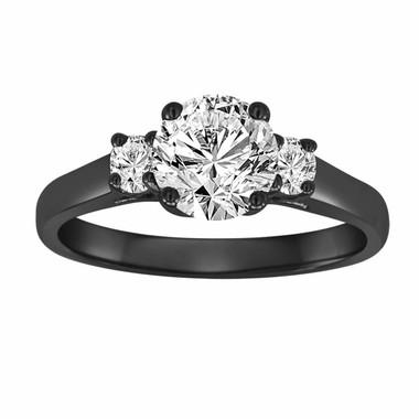 1.22 Carat Vintage Style Diamond Engagement Ring, Three Stone Wedding Ring, 14K Black Gold Certified Handmade