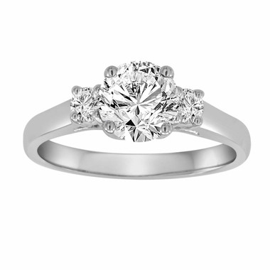 1.24 Carat Diamond Engagement Ring, Three Stone Classic Wedding Ring, 14K White Gold Gia Certified Handmade