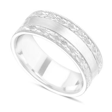 Hand Engraved Wedding Band, Men's Wedding Ring 7 mm 14K White Gold Handmade Unique