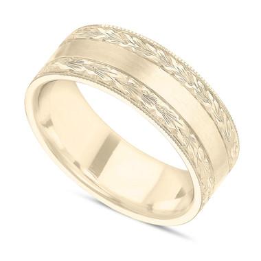 Unique Hand Engraved Wedding Band, Men's Wedding Ring, Milgrain Band, 14K Yellow Gold 7 mm Handmade