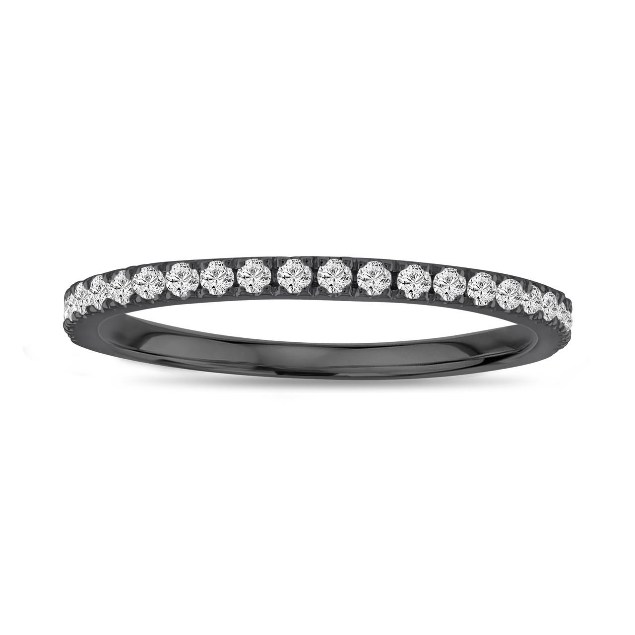 f3e6568cd2e48 Vintage Style Diamond Wedding Band, Thin Wedding Ring, 14K Black Gold Half  Eternity Band, Anniversary Ring, 0.25 Carat handmade Pave