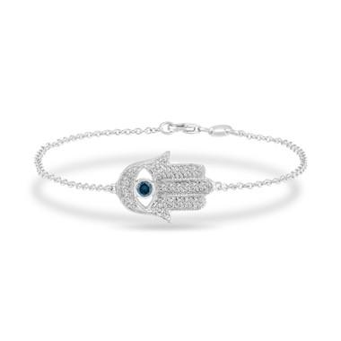 0.32 Carat Hamsa Diamond Bracelet, Blue Diamond Evil Eye Bracelet 14K White Gold Unique Handmade Micro Pave