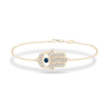 Hamsa Diamond Bracelet, Blue Diamond Evil Eye Bracelet 14K Yellow Gold 0.32 Carat Unique Handmade Micro Pave