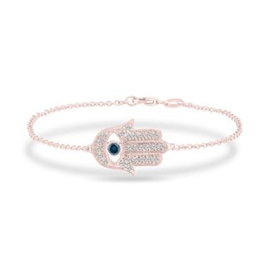 14K Rose Gold Hamsa Diamond Bracelet, Evil Eye Bracelet 0.32 Carat Unique Handmade Micro Pave
